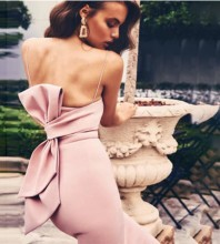 Strappy Pink Sleeveless Over Knee Bowknot Distinctive Bandage Dress PF19321-Pink