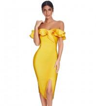Yellow Slit Frill Midi Short Sleeve Off Shoulder Bandage Dress PF19429-Yellow