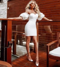 White Frill Backless Mini Short Sleeve Off Shoulder Bandage Dress PF20006-White