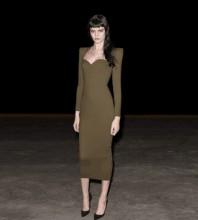Green Zipper Plain Over Knee Long Sleeve Square Collar Bandage Dress PF20007-Green