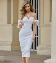 White Bubble Beads Tie Over Knee Short Sleeve Strappy Bandage Dress PF20008-White
