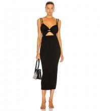 Black Backless Cut Out Midi Sleeveless Strappy Bandage Dress PF21101-Black
