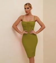 Green Backless Striped Midi Sleeveless Strappy Bandage Dress PF21110-Green