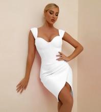 White Slit Frill Midi Sleeveless Strappy Bandage Dress PF21121-White