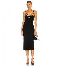 Black Backless Cut Out Midi Sleeveless Strappy Bandage Dress PF21301-Black