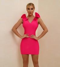 Rose Frill Cut Out Mini Sleeveless V Neck Bandage Dress PF21303-Rose