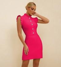 Rose Button Frill Mini Sleeveless High Neck Bandage Dress PF21304-Rose