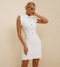 White Plain Frill Mini Sleeveless High Neck Bandage Dress PF21304-White
