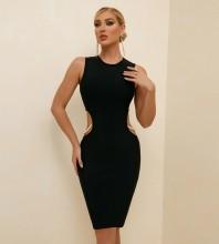 Black Bubble Beads Cut Out Midi Sleeveless Round Neck Bandage Dress PF21421-Black