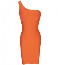 Orange Plain Asymmetrical Midi Sleeveless One Shoulder Bandage Dress PF21422-Orange