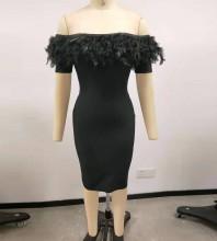 Black Backless Feather Midi Short Sleeve Off Shoulder Bandage Dress PF21450-Black