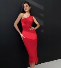 Red Asymmetrical Tassels Midi Sleeveless One Shoulder Bandage Dress PF21507-Red