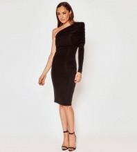 Black Wrinkled Asymmetrical Midi Long Sleeve One Shoulder Bandage Dress PF21609-Black