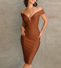 Brown Distinctive Cut Out Midi Short Sleeve Off Shoulder Bandage Dress PF21611-Brown