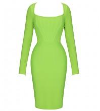 Fluorescent Green Slit Striped Midi Long Sleeve Square Collar Bandage Dress PF21705-Fluorescent-Green