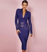 Dark Blue V Neck Long Sleeve Over Knee Plain Celebrity Bandage Dress PFHJ649-Dark-Blue