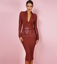 Light Brown V Neck Long Sleeve Over Knee Plain Celebrity Bandage Dress PFHJ649-Light-Brown