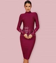 Wine Round Neck Long Sleeve Mini Fashion Bandage Dress PFHJ672-Wine