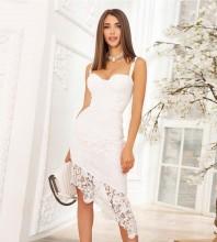White Backless Lace Over Knee Sleeveless Strappy Bandage Dress PH01008-White