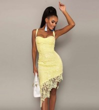 Yellow Backless Lace Over Knee Sleeveless Strappy Bandage Dress PH01008-Yellow