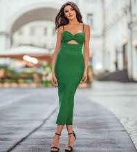 Green Backless Cut Out Midi Sleeveless Strappy Bandage Dress PHD1716-Green