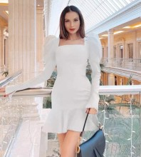 White Plain Frill Mini Long Sleeve Square Collar Bandage Dress PHD1717-White