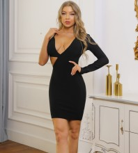 Black Backless Asymmetrical Mini Long Sleeve V Neck Bandage Dress PK091911-Black