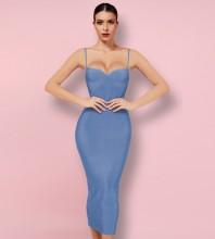 Blue Backless Plain Midi Sleeveless Strappy Bandage Dress PK092003-Blue
