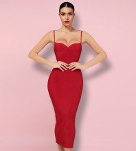 Red Backless Plain Midi Sleeveless Strappy Bandage Dress PK092003-Red