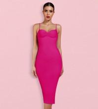 Rose Backless Plain Midi Sleeveless Strappy Bandage Dress PK092003-Rose