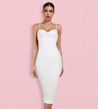 White Backless Plain Midi Sleeveless Strappy Bandage Dress PK092003-White