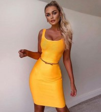 Yellow Mini Sleeveless Strapy Bandage Dress PK19116-Yellow