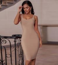 Apricot Plain Backless Midi Sleeveless Strappy Bandage Dress PK19124-Apricot