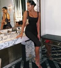 Over Knee Black Strappy Striped Backless Bandage Dress PK19124-Black