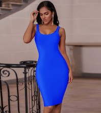 Blue Plain Backless Midi Sleeveless Strappy Bandage Dress PK19124-Blue