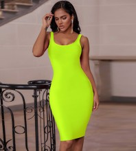 Fluorescent Green Backless Plain Midi Sleeveless Strappy Bandage Dress PK19124-Fluorescent-Green