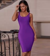 Purple Backless Plain Midi Sleeveless Strappy Bandage Dress PK19124-Purple