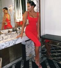 Red Mini Sleeveless Strapy Bandage Dress PK19124-Red