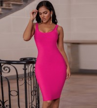 Rose Plain Backless Midi Sleeveless Strappy Bandage Dress PK19124-Rose