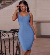 Sky Blue Plain Backless Midi Sleeveless Strappy Bandage Dress PK19124-Sky-Blue