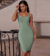 Turquoise Plain Backless Midi Sleeveless Strappy Bandage Dress PK19124-Turquoise