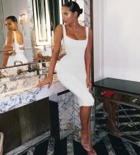 Over Knee White Strappy Striped Backless Bandage Dress PK19124-White