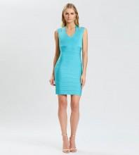 Blue Striped Hollow out Mini Sleeveless V Neck Bandage Dress PK21114-Blue