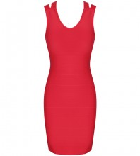 Red Backless Hollow out Mini Sleeveless V Neck Bandage Dress PK21114-Red
