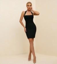 Black Backless Plain Mini Sleeveless Halter Bandage Dress PK21341-Black