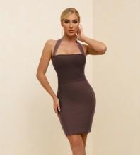 Brown Backless Plain Mini Sleeveless Halter Bandage Dress PK21341-Brown