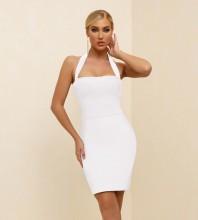 White Backless Plain Mini Sleeveless Halter Bandage Dress PK21341-White