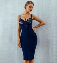 Blue Strapy Sleeveless Over Knee Lace Party Bandage Dress PM0502-Blue