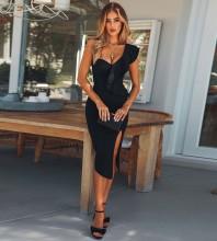 Black One Shoulder Sleeveless Knee Length Side Split Fashion Bandage Dress PM1205-Black