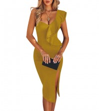 Ginger Frill Over Knee Sleeveless One Shoulder Bandage Dress PM1205-Ginger